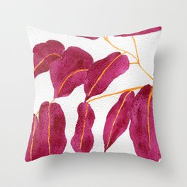Ruby and gold leaves watercolor illustration Throw Pillow