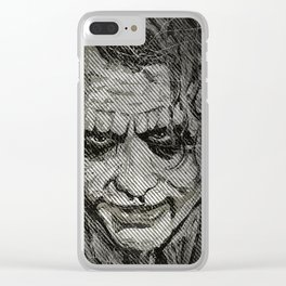 Joker in black & white Clear iPhone Case