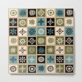 Vintage ethnic background with squares and sun symbols Metal Print