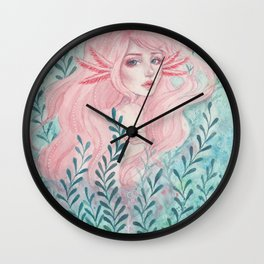Axolotl girl Wall Clock