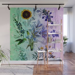 Botanical Study #2, Vintage Botanical Illustration Collage Art Wall Mural