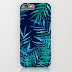 Watercolor Palm Leaves on Navy Slim Case iPhone 6