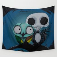 jack Wall Tapestries featuring The Owl Jack And Sally by Annelies202