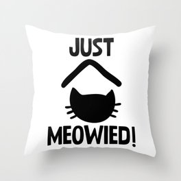 Just Married Cat Pun Throw Pillow