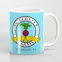dwight schrute Mugs featuring Schrute Farms | The Office - Dwight Schrute by Silvio Ledbetter