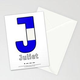Juliet - J - Navy Alphabet Stationery Cards