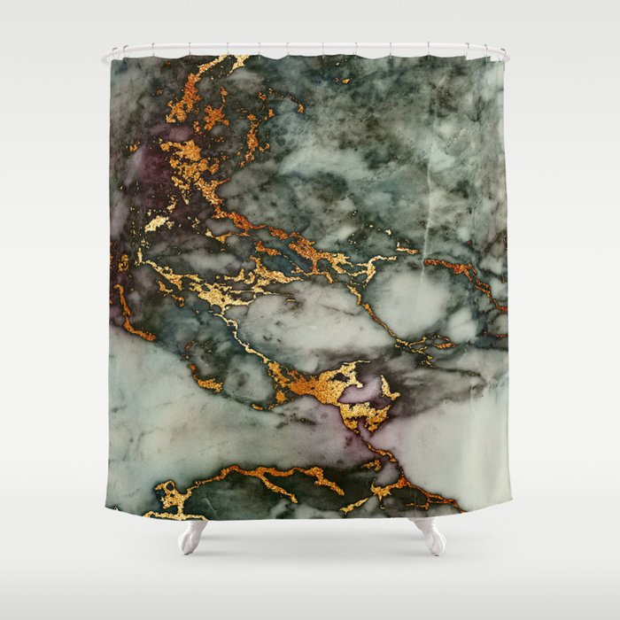 Gray Green Marble Glitter Gold Metallic Foil Style Shower Curtain