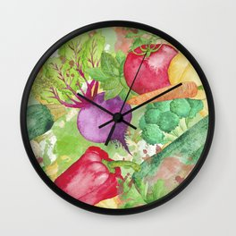 Mixed Vegetables Watercolor Wall Clock