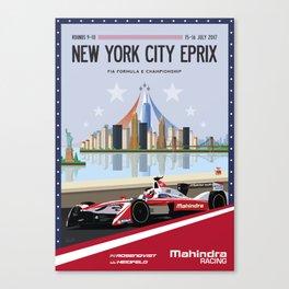 Mahindra Racing FIA Formula E Season Three Race 09 10 New York City ePrix poster Canvas Print