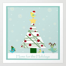 Christmas Birdies by the Tree Art Print