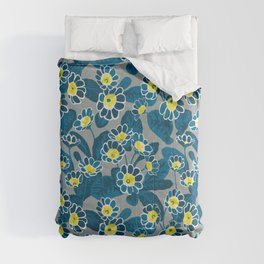 Primula Lace Blue. Flower pattern Comforters