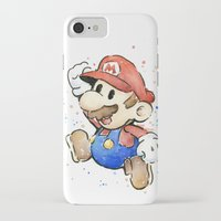 mario kart iPhone & iPod Cases featuring Mario Watercolor by Olechka