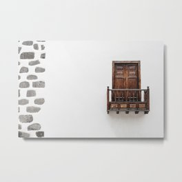 Wooden window door and balcony in a white wall. La Palma, Canary Island. Metal Print