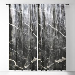 Misty Wet Black Marble Pattern With White Veins Blackout Curtain