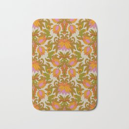 Orange, Pink Flowers and Green Leaves 1960s Retro Vintage Pattern Bath Mat