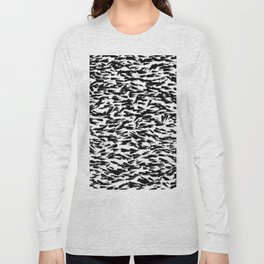 Black and White Ocean Current Abstract Pattern Long Sleeve T-shirt