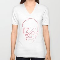 quibe V-neck T-shirts featuring One line Aladdin Sane by quibe