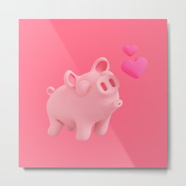 Rosa the Pig kisses Metal Print