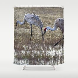 Working in Pairs Shower Curtain