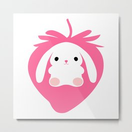 Mei the Strawberry Rabbit Metal Print
