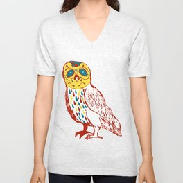 Sugar Skull Owl Unisex V-Neck