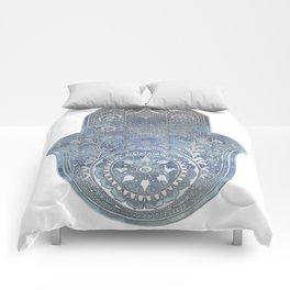 Silver Blues Hamsa Hand Comforters