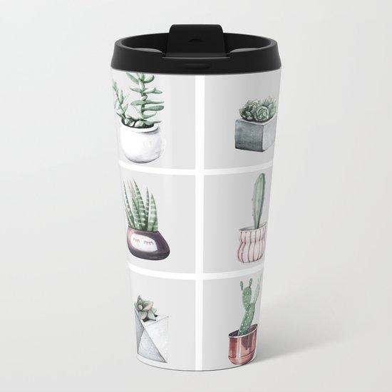 Cactus Bunch Grid Rose Gold Gray Green Metal Travel Mug