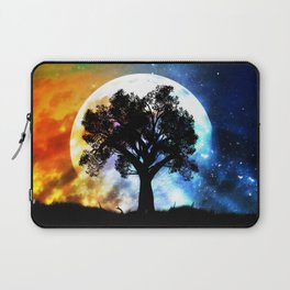 Glowing planet over starry sky and big tree Laptop Sleeve