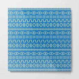 mudcloth white on blue Metal Print