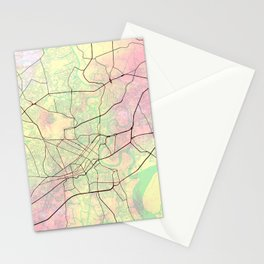 Ho Chi Minh City Street Map Pink Yellow  Stationery Cards