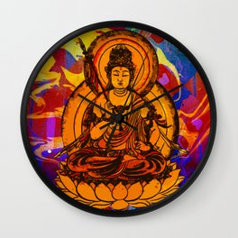 Abstract Marble Colorful Pattern Yellow Buddha Illustration Wall Clock