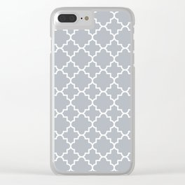 Classic Quatrefoil pattern, silver grey Clear iPhone Case