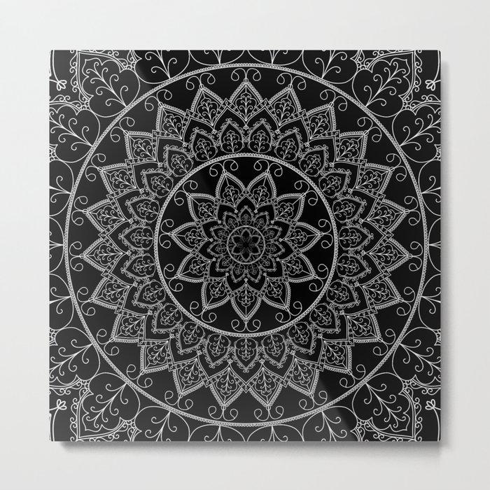 Black and White Lace Mandala Metal Print