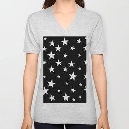 Hand-Drawn Stars (White & Black Pattern) Unisex V-Neck