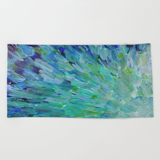SEA SCALES - Beautiful Ocean Theme Peacock Feathers Mermaid Fins Waves Blue Teal Color Abstract Beach Towel