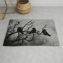 Dramatic Crow Birds Raven on Branch Stormy Sky Home Decor Wall Art A526 Rug