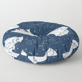 Polar Bear and Constellation Arctic Night Sky Stars Floor Pillow