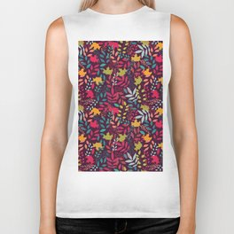 Autumn seamless pattern with floral decorative elements, colorful design Biker Tank