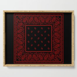 Classic Black and Red Bandana Serving Tray
