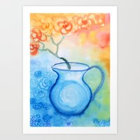 Cherry flowers in the blue jug Art Print