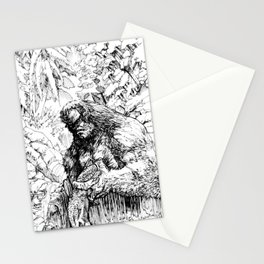 SASQUATCH EATING SALMON Stationery Cards