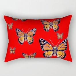 RED ART MONARCH BUTTERFLIES Rectangular Pillow