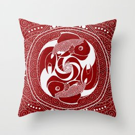 Two Red Fish Throw Pillow