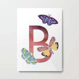 B - Butterfly Metal Print