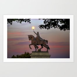 Moon over the St. Louis Statue Art Print