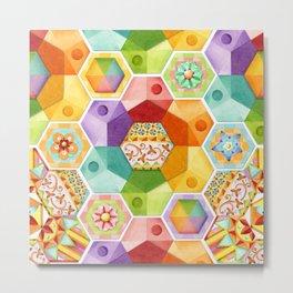 Circus Rainbow Hexagons Metal Print