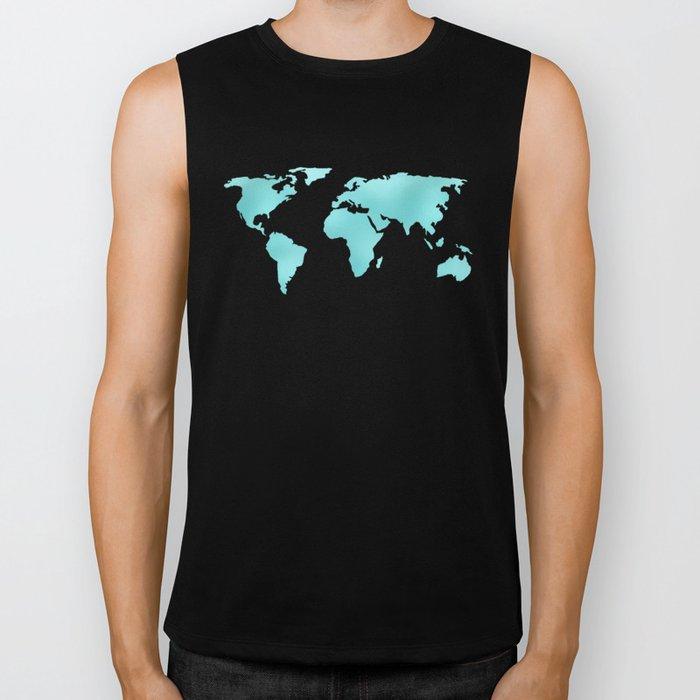 World Map Turquoise Shimmery Map Biker Tank
