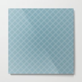 Christmas Icy Blue Velvet Diagonal Tartan Check Plaid Metal Print