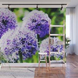 Fuzzy Blue Alliums Wall Mural