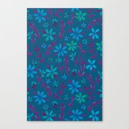 Dark Florals   Teal and Pink Palette Canvas Print